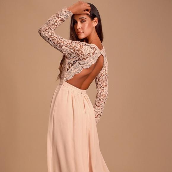 Lulu's Dresses & Skirts - New**Lulus -Awaken My Love Long Sleeve Lace Maxi